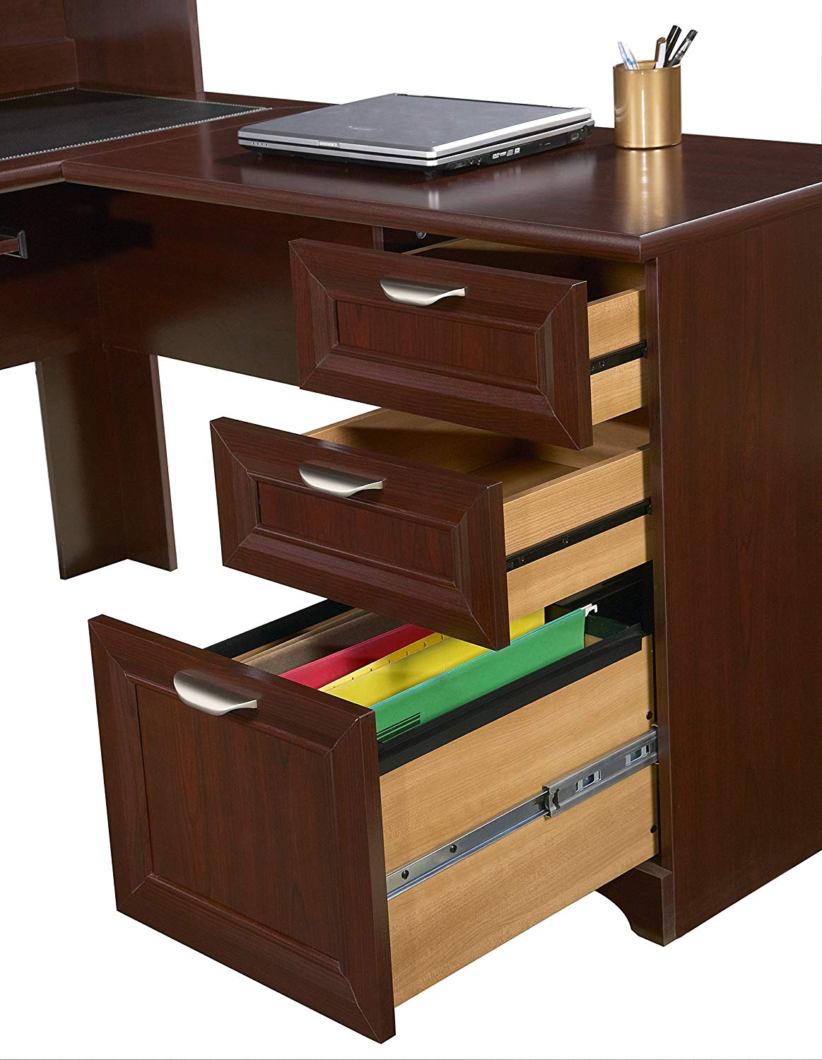Realspace Magellan Collection L Shaped Desk Classic Cherry Item
