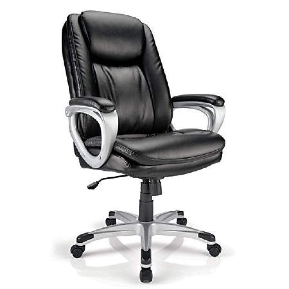 Realspace Tresswell Bonded Leather High-Back Chair, Black ...